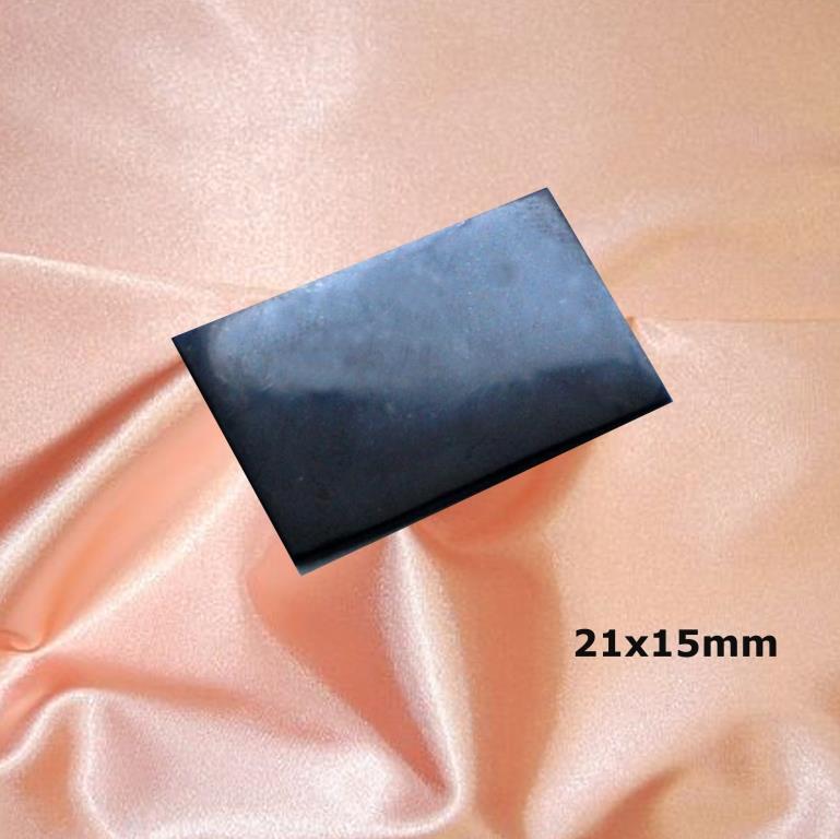 Пластинка для сотового телефона полированная прямоугольная 21x15 мм  из шунгита.