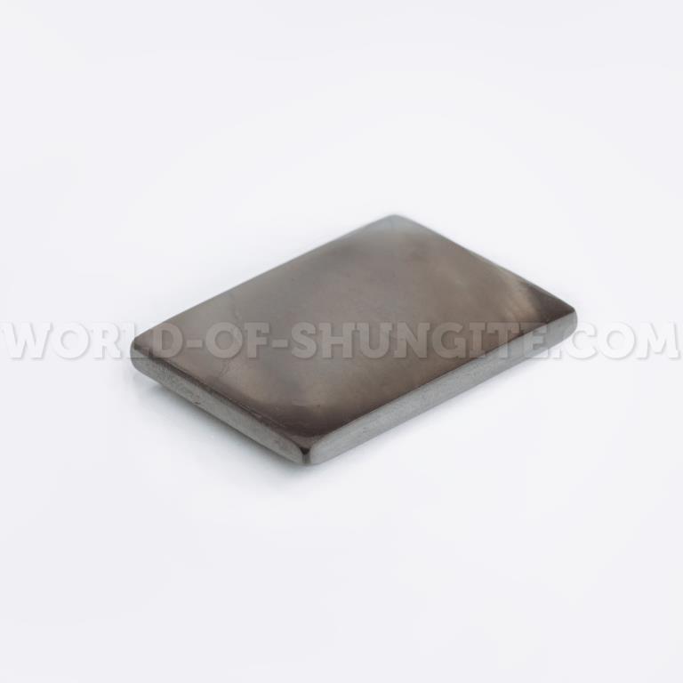 Пластинка для сотового телефона полированная прямоугольная 25x15 мм  из шунгита.