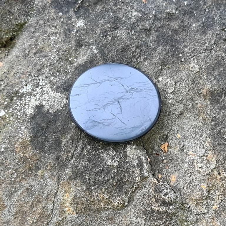 Пятачок полированный на магните 45 мм из шунгита.